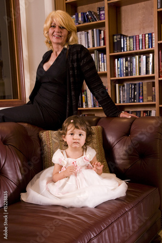 Portrait of Bosnian grandmother and granddaughter at home