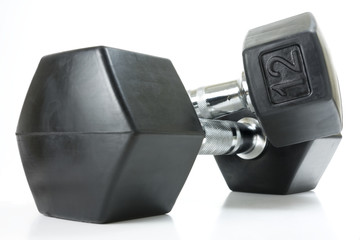 A pair of rubberized hexagon dumbbell style weights