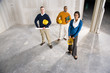 Multi-ethnic people in office space ready for buildout