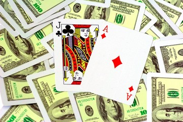Blackjack on money background