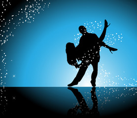 Couple dancing on blue background surrounded by sparkling stars