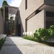 Modern minimalist summer villa with garden