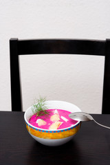 polish beet soup served cold with boiled egg