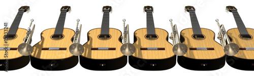 Fotobehang Muziek guitars and trumpets