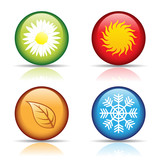 Fototapety vector of colorful four seasons icons isolated on white