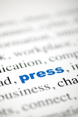 mot press texte flou mot bleu presse