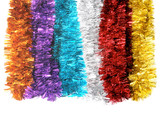 Christmas tinsel in bright colors