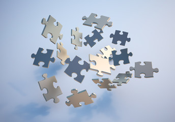 Flying puzzle pieces