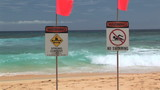Warning Strong Current, No Swimming, Sandy Beach, Oahu poster