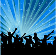 Abstract background with dancers. Vector illustration