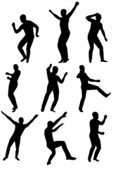 Collection of dancing young men. Vector illustration