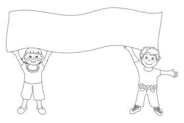 Bimbi con cartellone - Immagine in bianco e nero da colorare