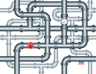 seamless maze of plumbing pipes