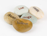 Create, magic, believe, dream, and love stones poster