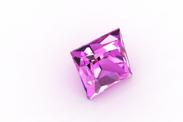 Princess Cut Square Pink Aquamarine Gemstone