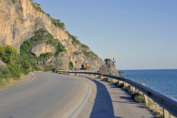 Main road along the winding seacoast , Marina di Camerota, Italy