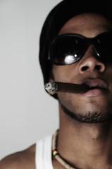 African man smoking