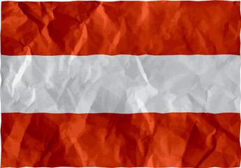 Austrian flag of crumpled paper