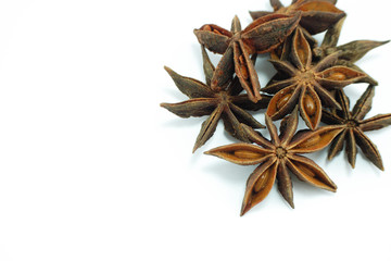 Star anise, top view isolated on white