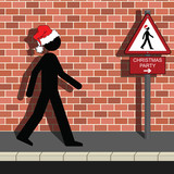 Signage Man on way to Christmas Party poster