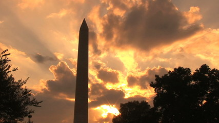 Washington Monument, sunset, time lapse