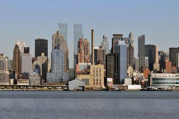 Midtown Manhattan skyline on a Clear Blue day, New York City.