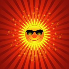 Happy Sun On Sparkling Burst Background