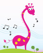 roleta: Singing giraffe. Funny jungle giraffe sing a song. VECTOR.