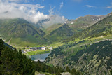Vall de Nuria Sanctuary in the catalan pyrennes, Spain poster
