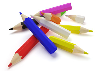 Scattering colored pencils.
