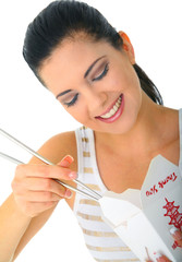 Eating Chinese Food With Chopstick