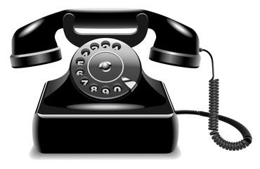 Realistic vector of outdated black telephone isolated