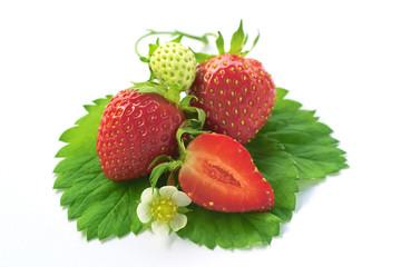 Strawberries on leaves