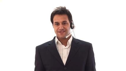 handsome customer service representative talking
