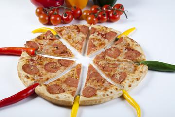 Supreme pizza in pan
