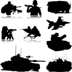 military vector silhouettes