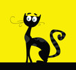 roleta: Black silhouette of cat. VECTOR ILLUSTRATION.