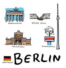 Lots de dessins vectoriels des monuments de Berlin