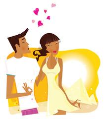 Summer Honeymoon in Egypt. VECTOR ILLUSTRATION