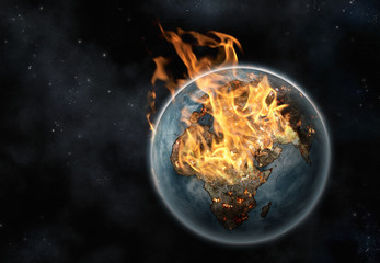 Digital creation of Planet Earth on fire viewed from space