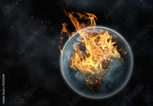 Digital creation of Planet Earth on fire viewed from space - 15313044