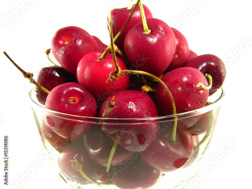 Fresh Cherries in a Glass Bowl