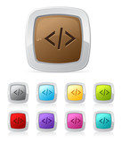Vector glossy button set in various color - php code script poster