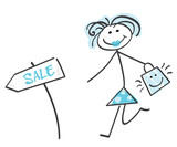 Sale girl blue - loving shopping! Doodle vector character. poster