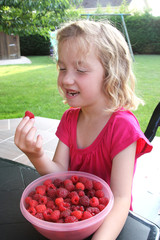 children picking up organic raspberry.