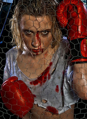 girl with bloody face and boxing gloves
