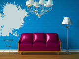 Purple couch, table  and standard lamp in  blue minimalist inter poster