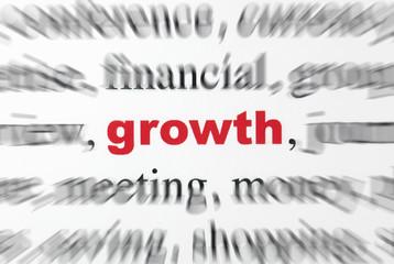 mot growth croissance lettres rouge texte flou