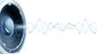 Leinwanddruck Bild - Onde audio fond blanc