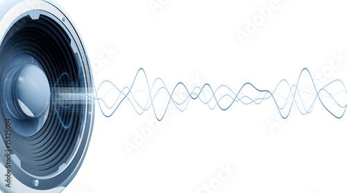 Leinwanddruck Bild Onde audio fond blanc